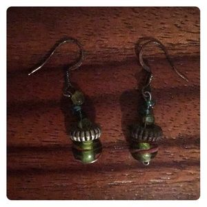 Glass bead earrings green and blue